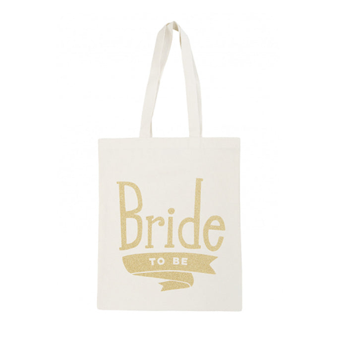 Canvas tote bag with a graphic printed on it with the words 'Bride To be' in gold