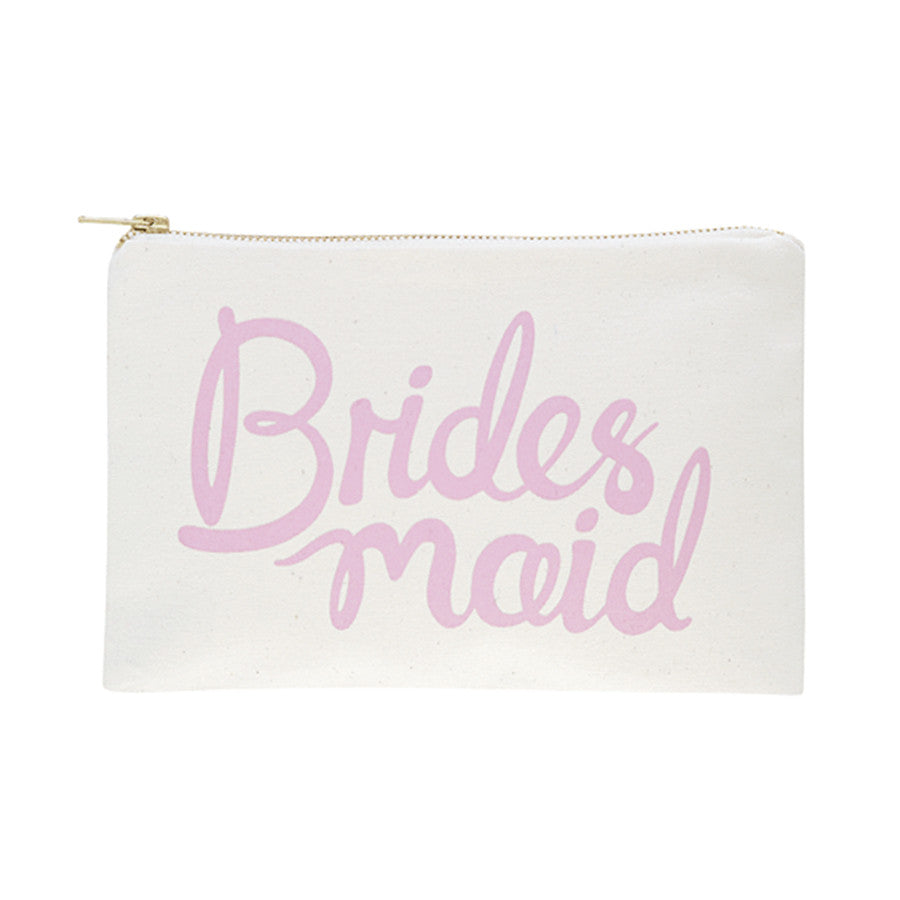 A canvas pouch with a graphic that say's Bridesmaid printed on it in a rose pink colour