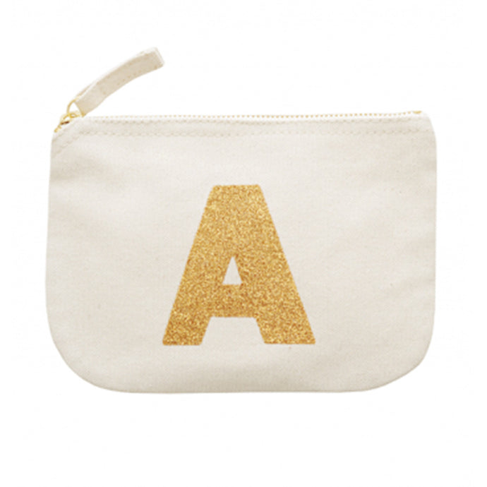 Canvas Pouch with the Initial 'A' printed on it in gold glitter