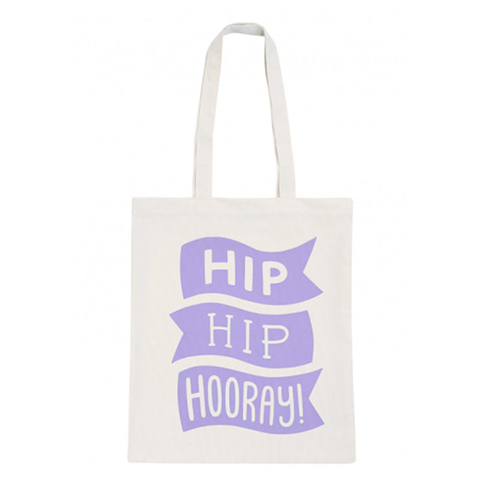 Canvas tote bag with a motif that reads 'Hip Hip Hooray!' illustrated in the style of waving flags in lilac