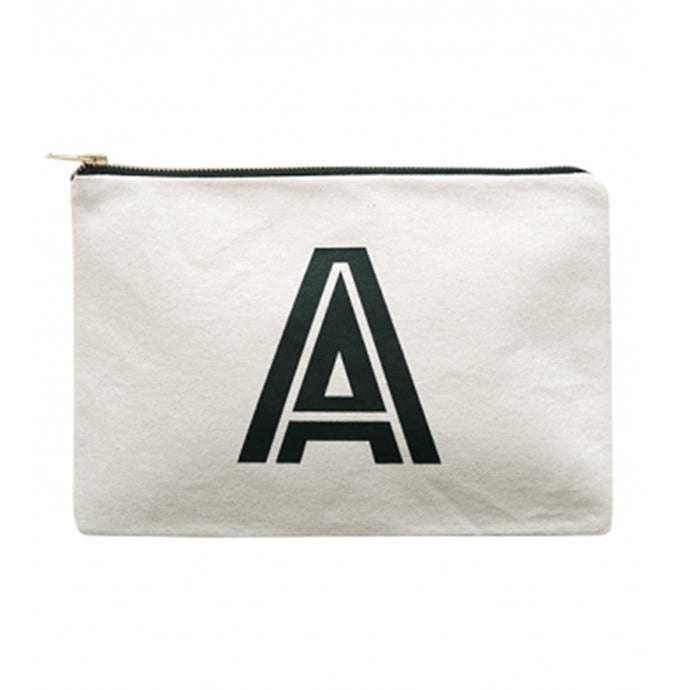 A canvas pouch with the Initial letter A in a typographic style printed in black