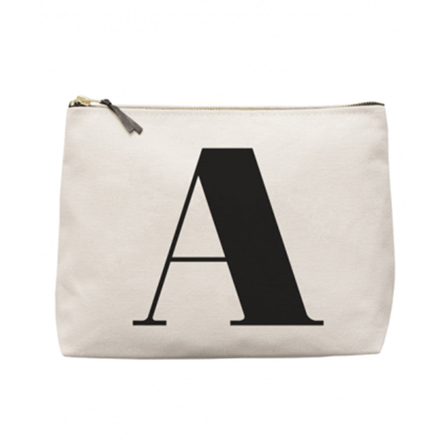A natural canvas wash bag with the Initial 'A' printed in black in a traditional font