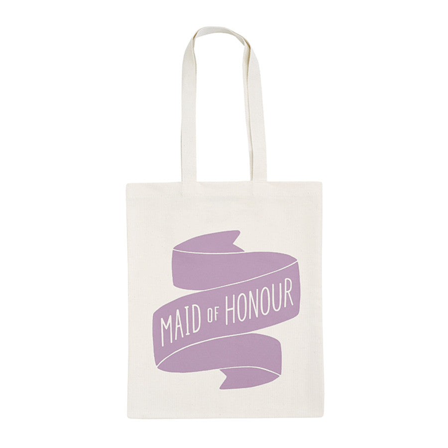 Canvas tote bag with a motif that reads 'Maid of Honour' illustrated in the style of a flowing ribbon in lilac