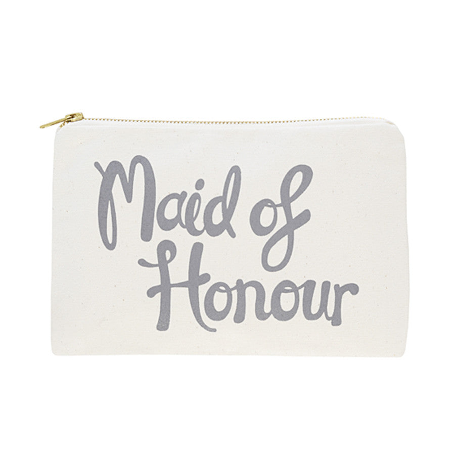 A canvas pouch with the words 'Maid of Honour' printed in a handwritten style on one side in grey