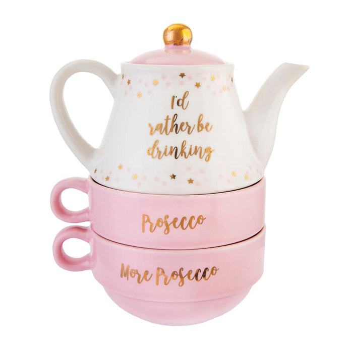 rather be drinking prosecco tea pot and mug gift set sass & belle