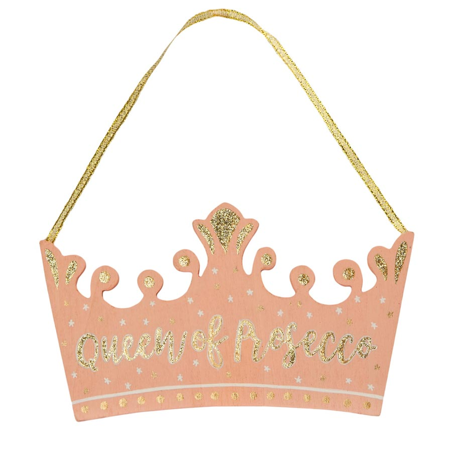 queen of prosecco pink and gold hanging sign sass & belle