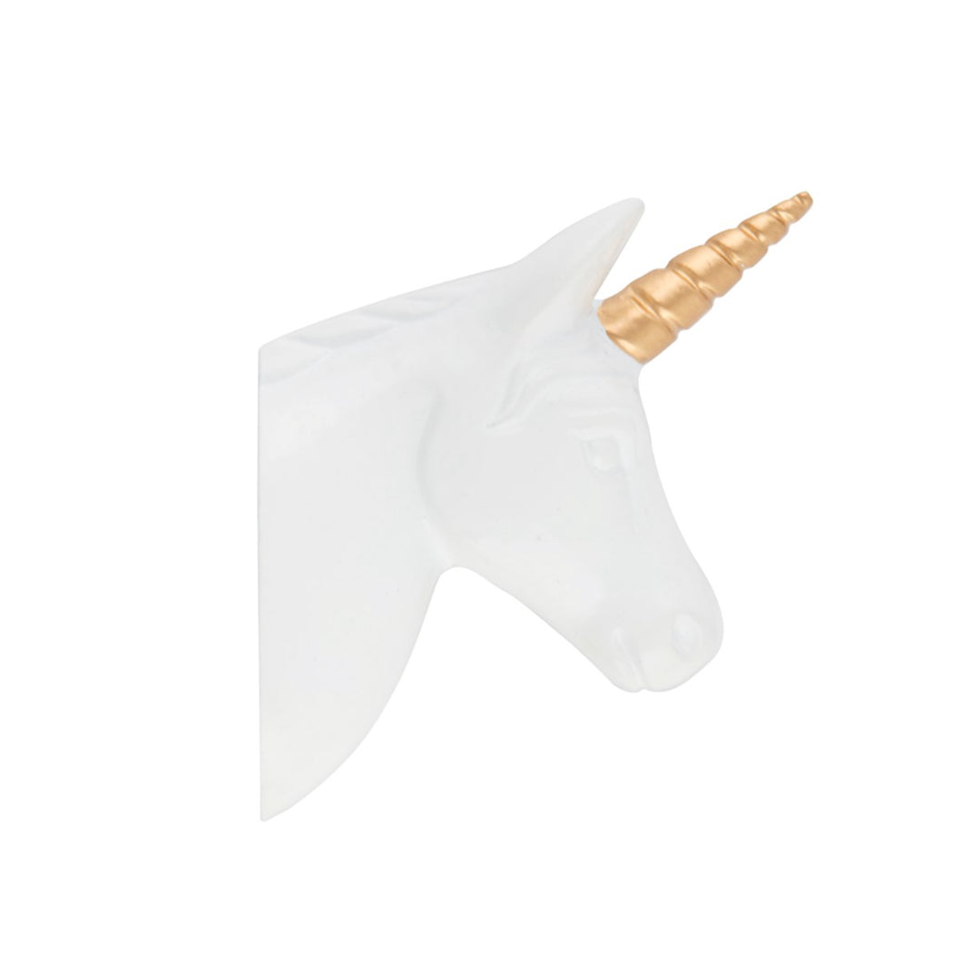 A side view of a white and gold unicorn head which is a hook for hanging things on by Sass & Belle