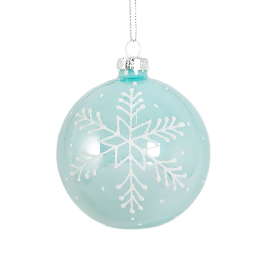 blue and white snowflake hanging bauble decoration