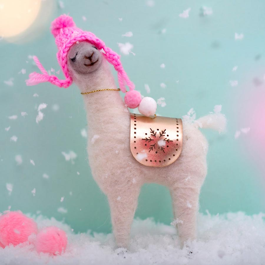 llama standing wool decoration. pink hat. Christmas. sass & belle