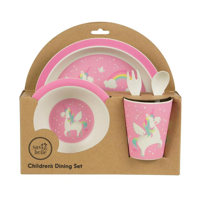 natural bamboo pink unicorn childrens dinner set by sass & belle