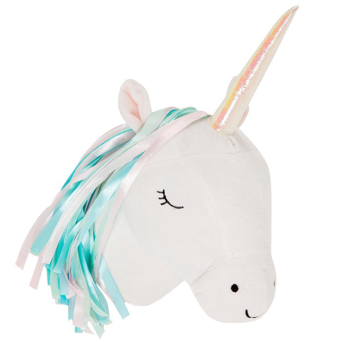plush pastel unicorn wall head. sass & belle
