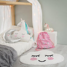 pink and white unicorn soft cushion for children sass & belle