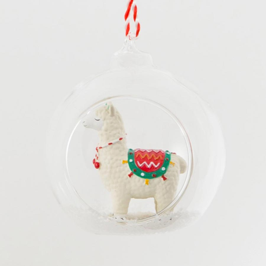 snowy white and red llama hanging Christmas tree decoration from sass & belle