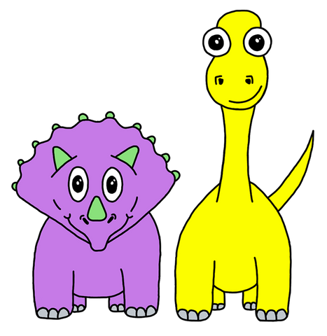 Two happy Daliland dinosaurs