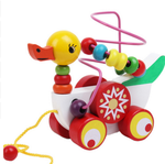 Wooden Children's Animal Duckling Beads Puzzle & Trailer