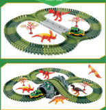Dinosaur Toys Race Track Sets with 144 Pieces Flexible Tracks 3 Dinosaurs,1 Military Vehicles,1 Tree and 2 In 1 Tunnel for 2 3 4