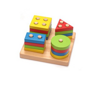 Baby Game Toys Wooden Puzzle Educational Toy Geometric shapes Game Toys Stick Baby Kid Children Intelligence Puzzle for Kid