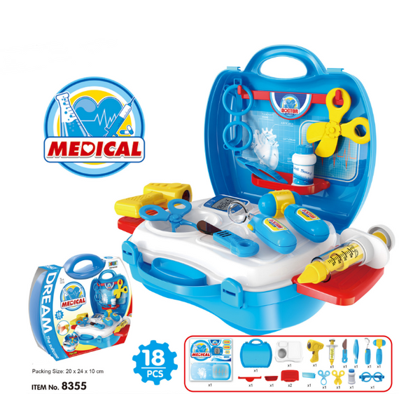 Pretend play sets: doctor, kitchen, tools and dressing table