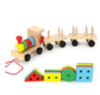 Young Delle drag three small trains wooden puzzle disassembly nut combination shape matching early education toys