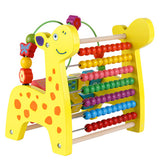 Wooden multi function deer knockout Beaded bead calculation frame turn over plate rack three in one child early education puzzle toy