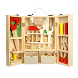 Wooden simulation repair kit for children's portable toolbox