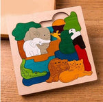 Wood Cartoon Animals Puzzle