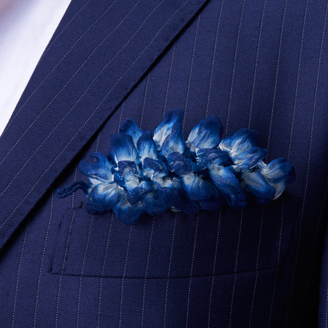 Navy Shibori Zome pocket square