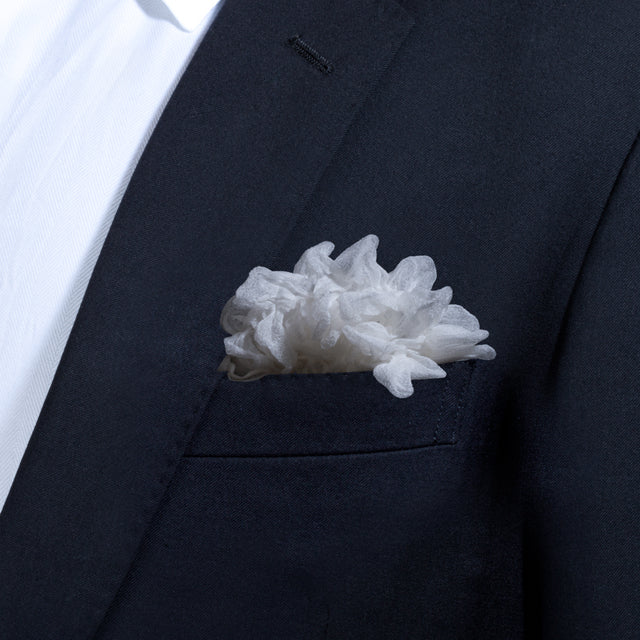 White Shibori Zome pocket square