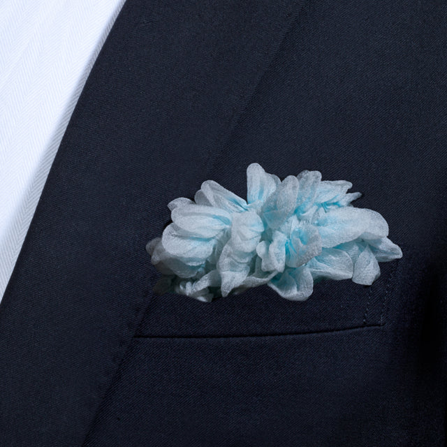 Sky blue Shibori Zome pocket square