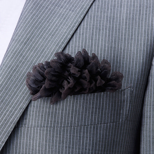 Dark gray black Shibori Zome pocket square