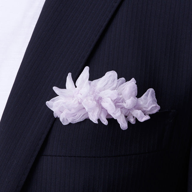 Pale pink Shibori Zome pocket square