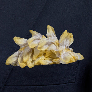 Lemon yellow Shibori Zome pocket square