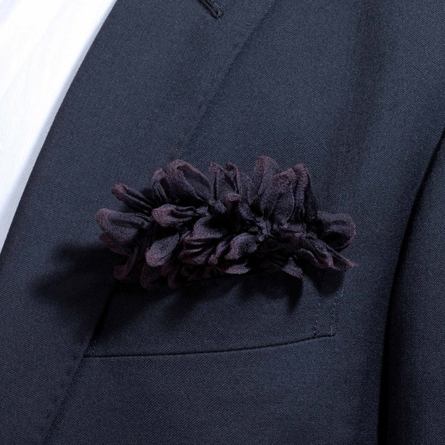 Black Shibori Zome pocket square