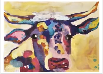 BIG KID COW PAINTING NIGHT! Friday August 5th 6:30-8:30pm  Kids, ages 9 and up, come on out and paint a version of this cow with local artist Laddie Neil. We will also be hosting the King of Pops in the studio: each painter will get a complimentary Popsicle!