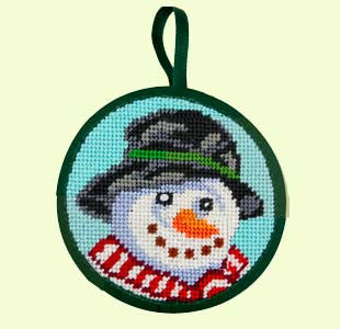 Needlepoint Class: Snowman Ornament