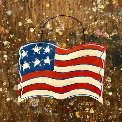 TAKE-HOME American Flag Doorhanger 14""