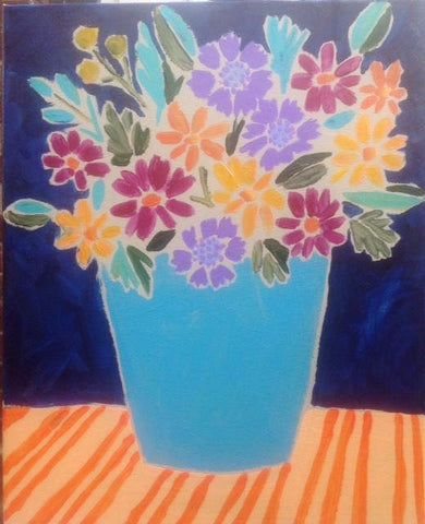 Wildflowers in a Blue Vase