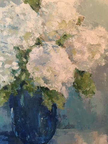 Hydrangeas in a Blue Vase