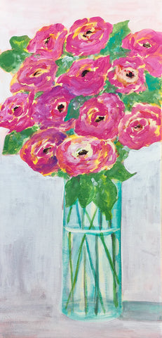 Pink Flowers in A Tall Vase