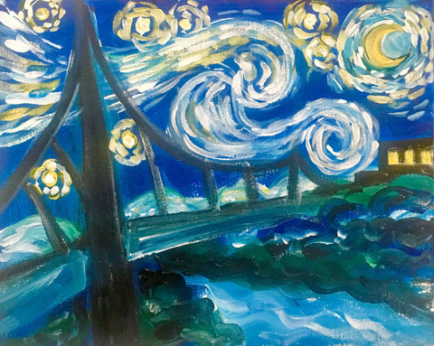 Kids Artisphere Paint Class: Starry Night Liberty Bridge