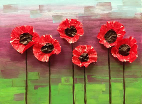 Kids Presidents Day Class:  Mixed Media Poppies