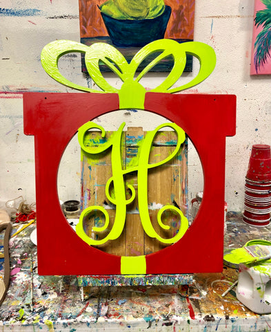 Wooden Christmas Present Doorhanger - Personalized