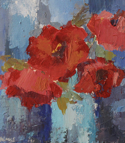Floral Palette Knife Class: Poppies in a Blue Vase