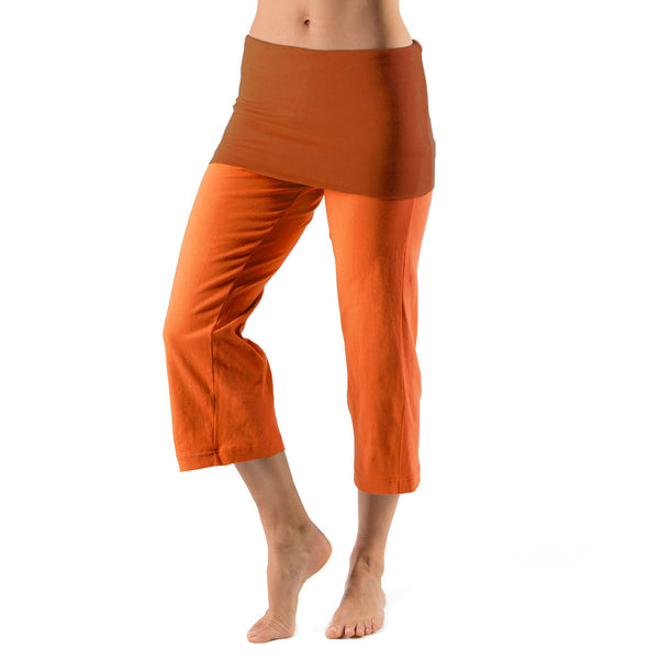 Bi Colour Cropped Fold Over Trouser