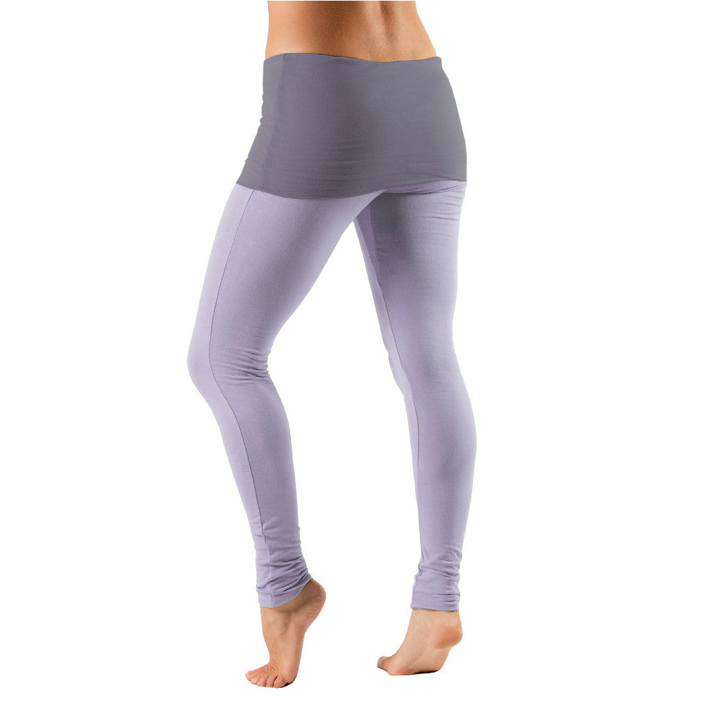 Bi Colour Fold Over Waist Leggings - Gossypium