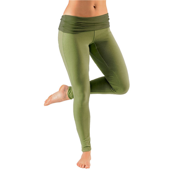 Bi Colour Mini Fold Over Waist Leggings - Gossypium