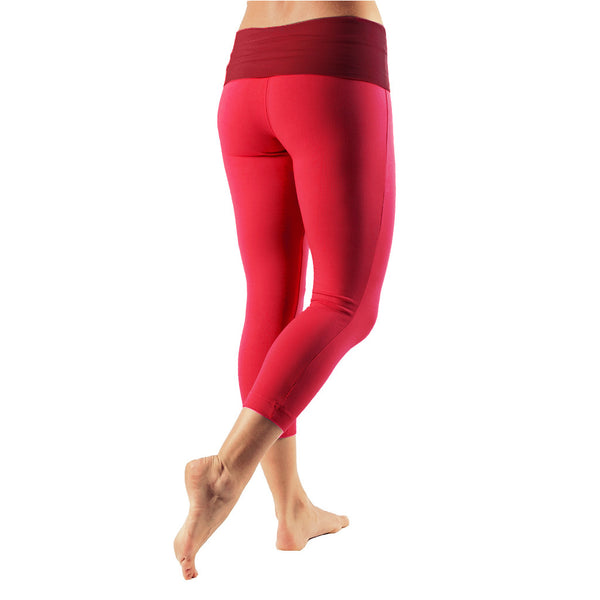 Bi Colour Mini Fold Over Waist Capri - Buy Yoga Clothing Made In The  UK | Gossypium