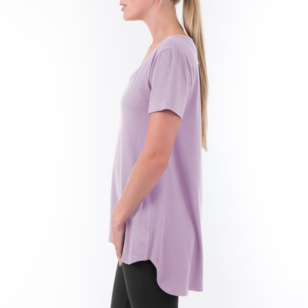 SHORT SLEEVE SCOOP NECK YOGA TUNIC