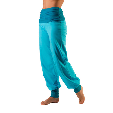 Bi Colour Fold Over Waist Harem Pants