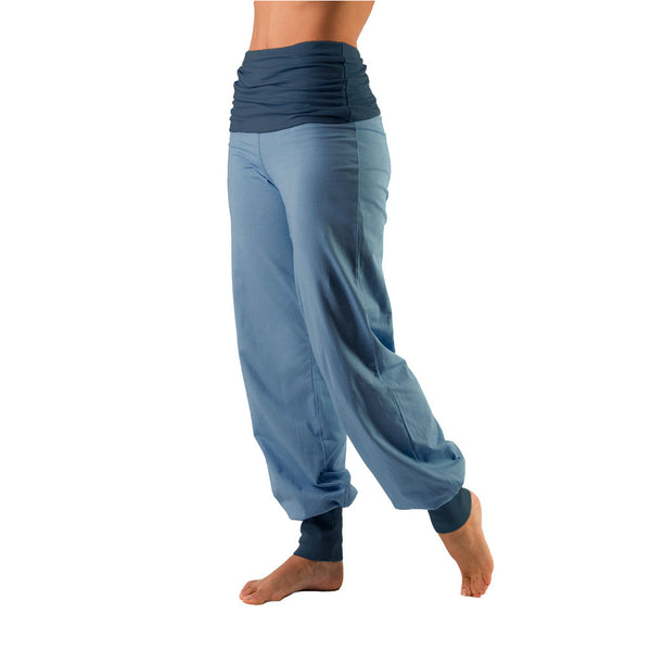 Bi Colour Fold Over Waist Harem Pants - Gossypium